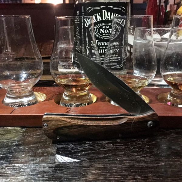 Benchmade - My wife treated me to some whiskey tonight at The Whiskey House. I tried some Jeffersons Aged at Ocean, Elijah Craig Barrel proof and then I did one of their...